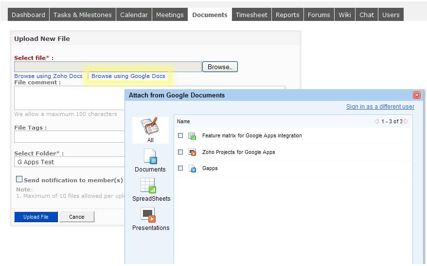 Zoho Apps Integrate Google Docs « Zoho Blog