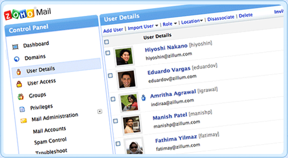 Zoho Mail - Control Panel