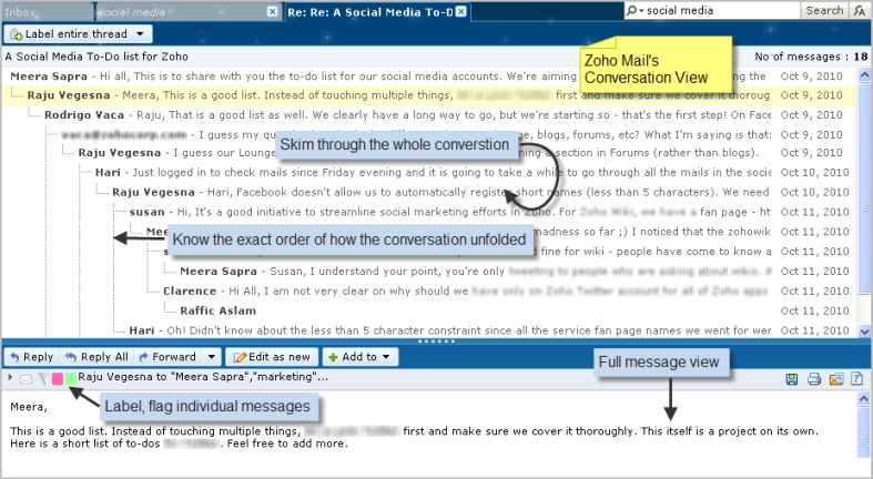 Zoho Mail's Conversation Thread View