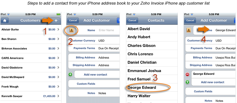 Add contact from iPhone address book