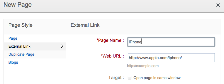 linking pages to external websites
