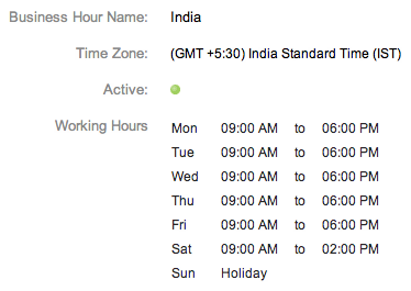 Zoho Support Custom Business Hours