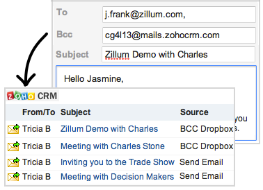 Illustration de Bcc Dropbox, Zoho CRM