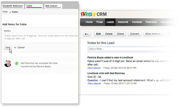 Add notes while you chat to share valuable insights with your whole team.