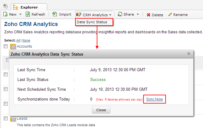 zoho report data sync status