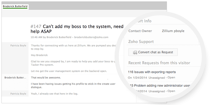 LiveDesk + Zoho Support = Instant Customer Happiness