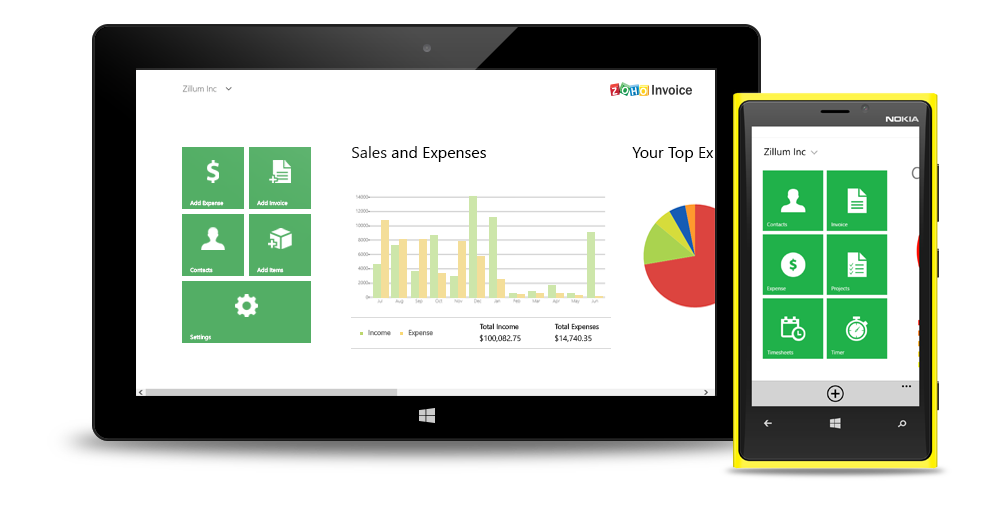 Zoho Invoice for Windows Phone and Surface tablet