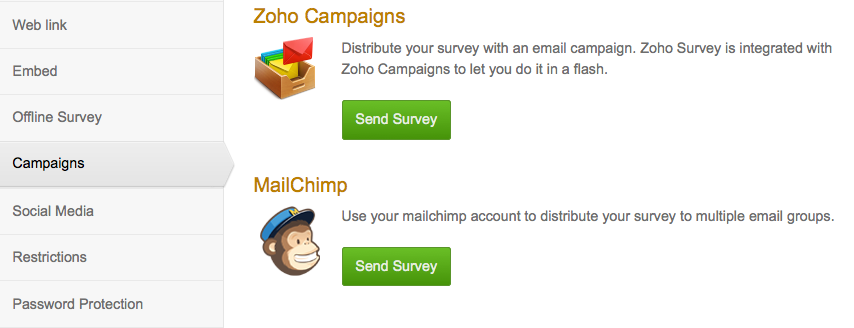 use Zoho Campaigns and MailChimp