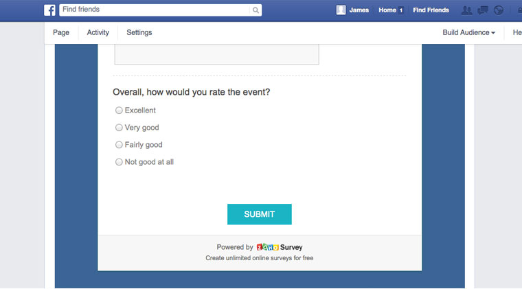 embed survey on facebook