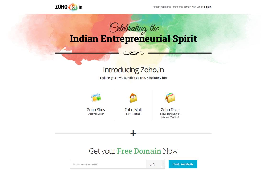 Zoho.in Free domain