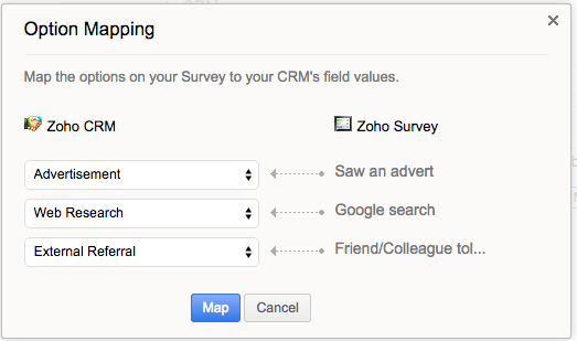 Zoho CRM Choice Mapping