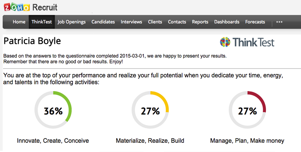 Zoho Recruit and ThinkTest integration result screen