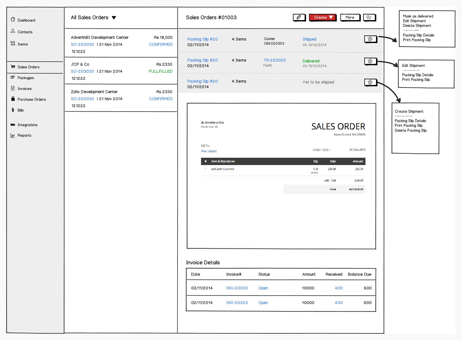 Zoho Inventory Wireframe