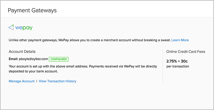 WePay Setup Confirmation