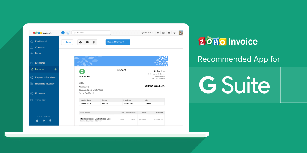 Zoho Invoice Is Now A Recommended App For G Suite Zoho Blog - Zoho invoice app