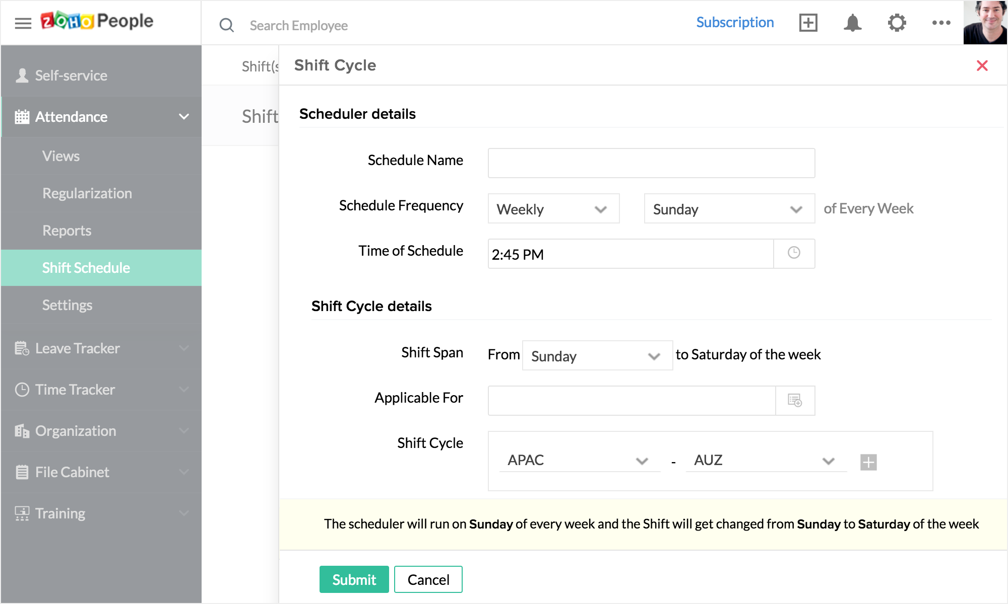 you can also pre plan your schedules by creating the schedule in advance shift rotation