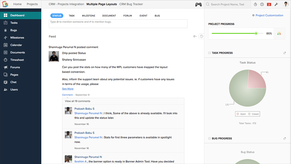 A meeting-killing discussion in the Zoho Projects feed