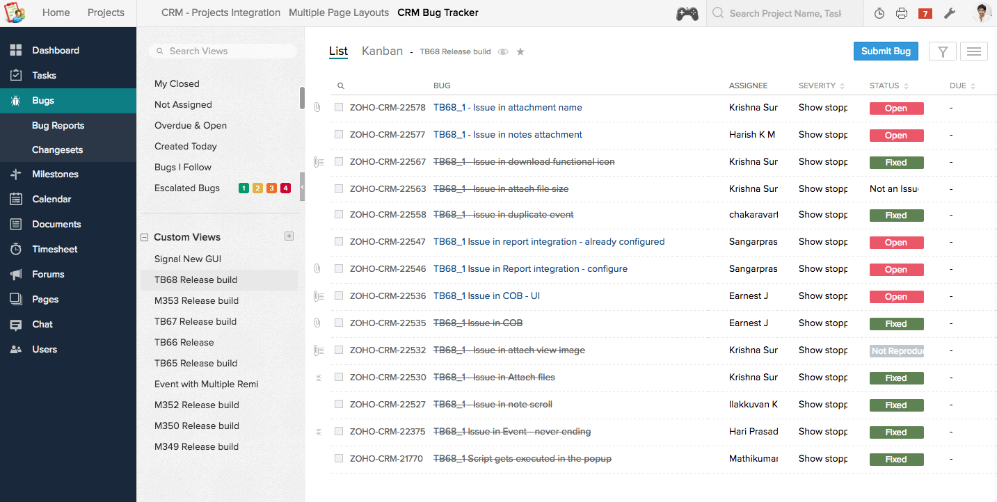 A custom view in Zoho BugTracker