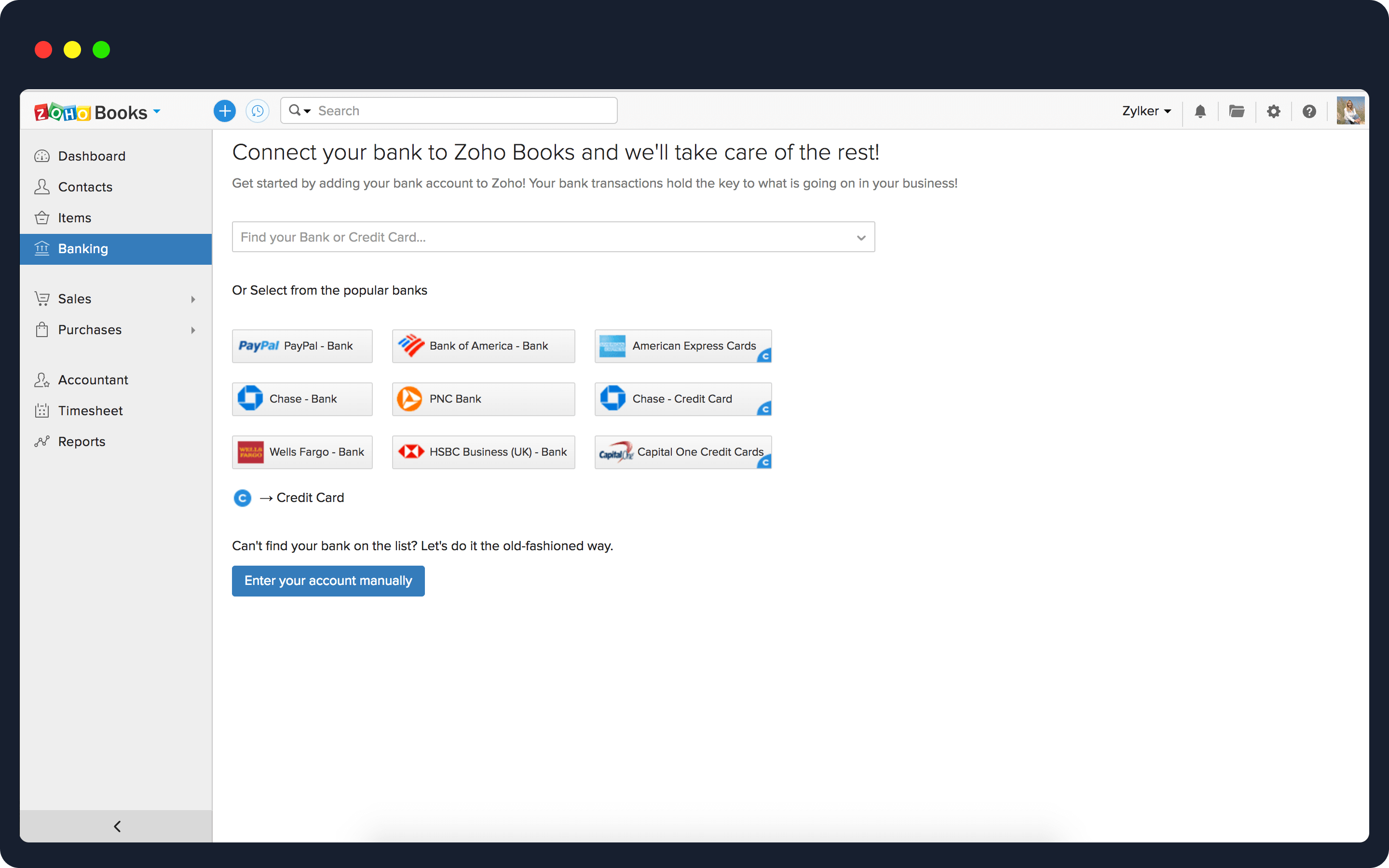 Get bank feeds with Zoho Books