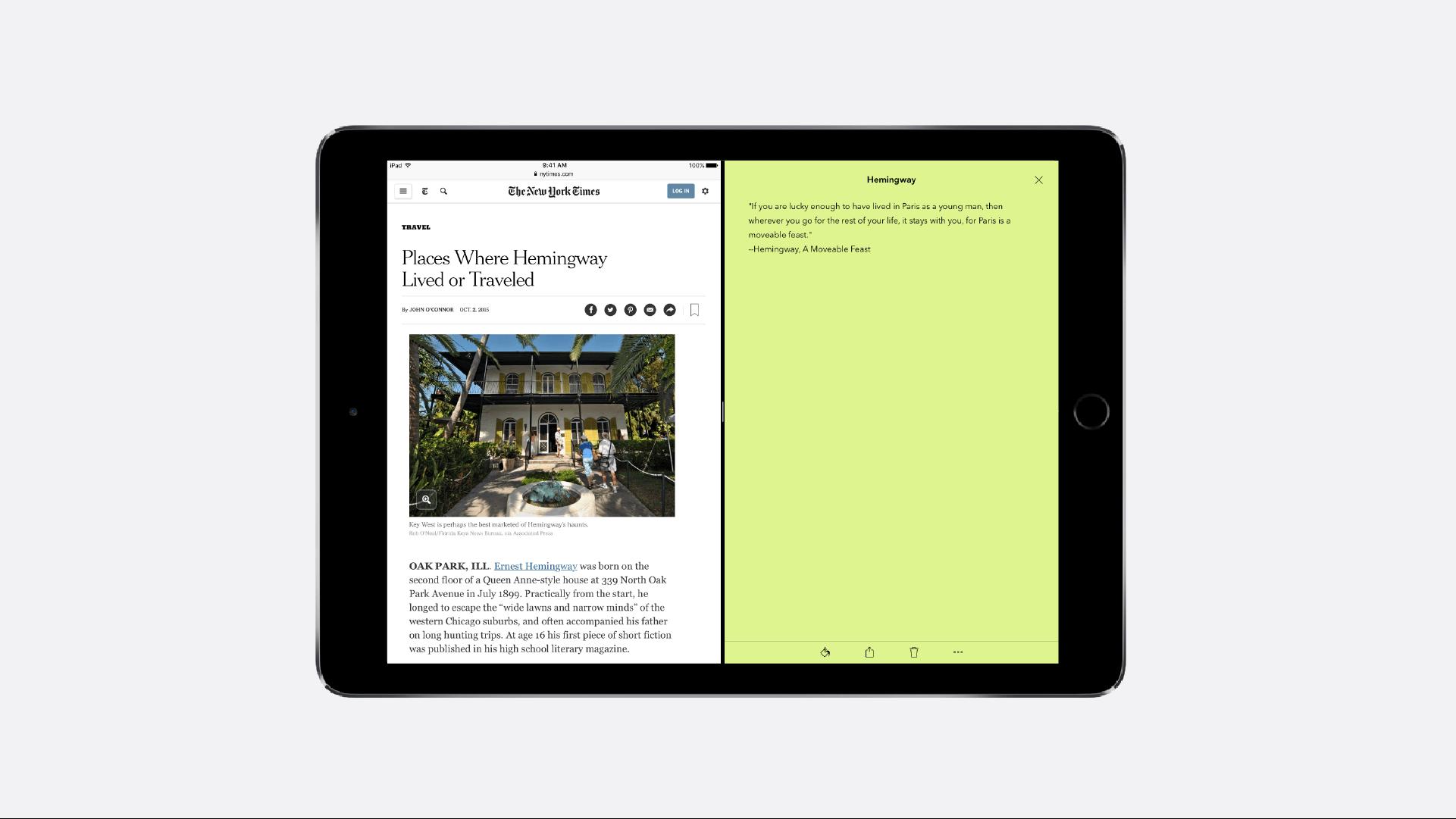 Notebook iPad Pro Split View