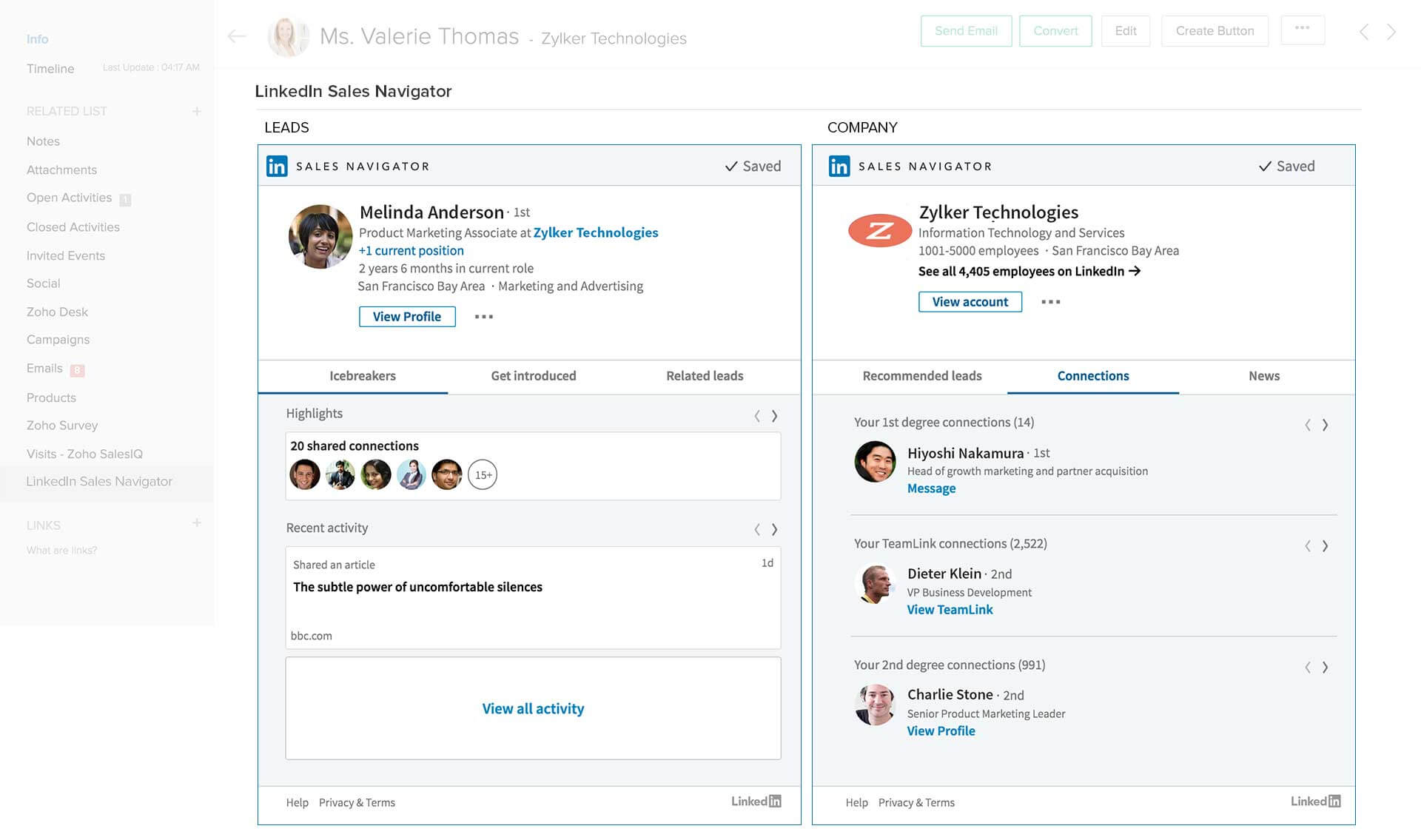 Zoho partners with LinkedIn to bring Sales Navigator to Zoho CRM