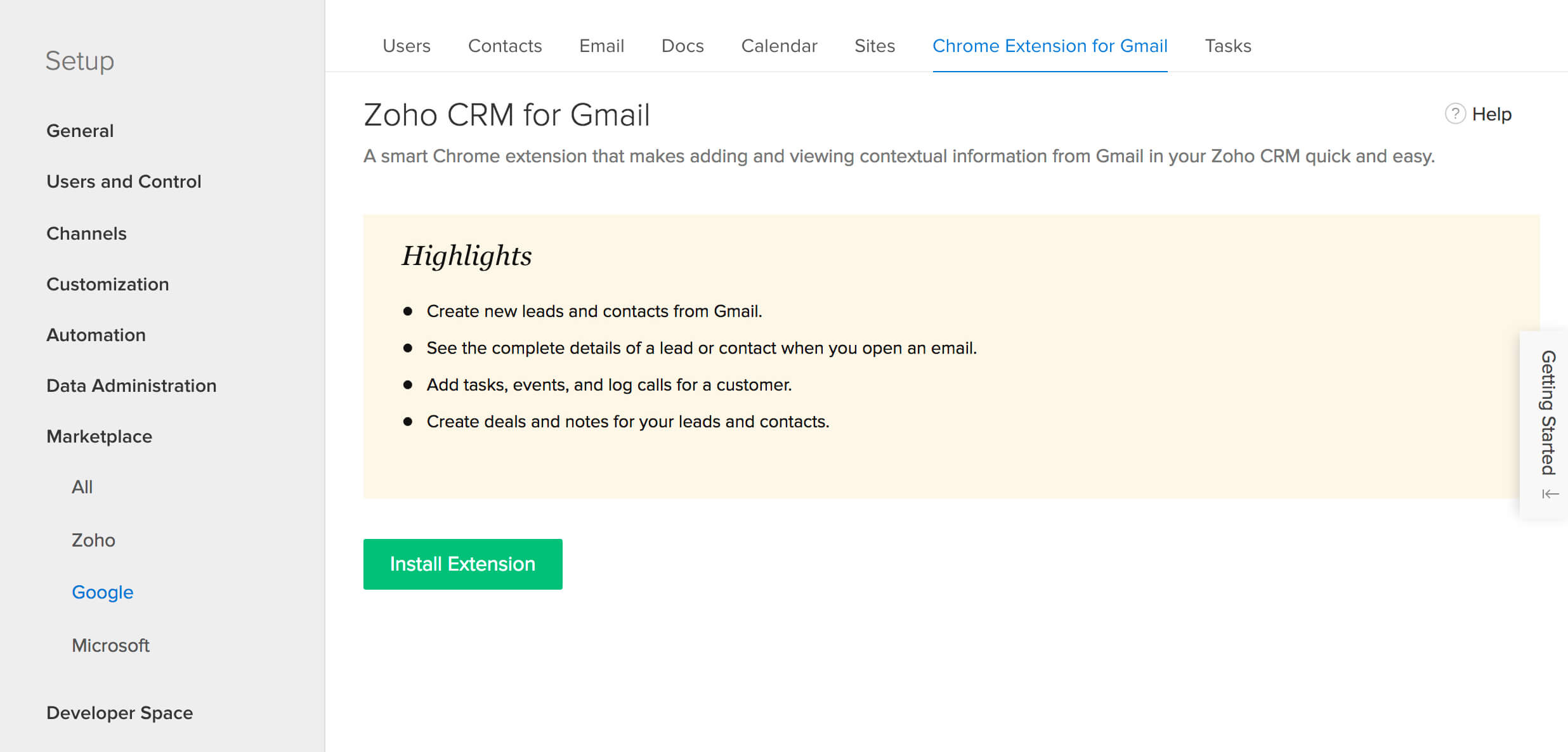 Visit Zoho CRM to install Chrome's Zoho CRM for Gmail