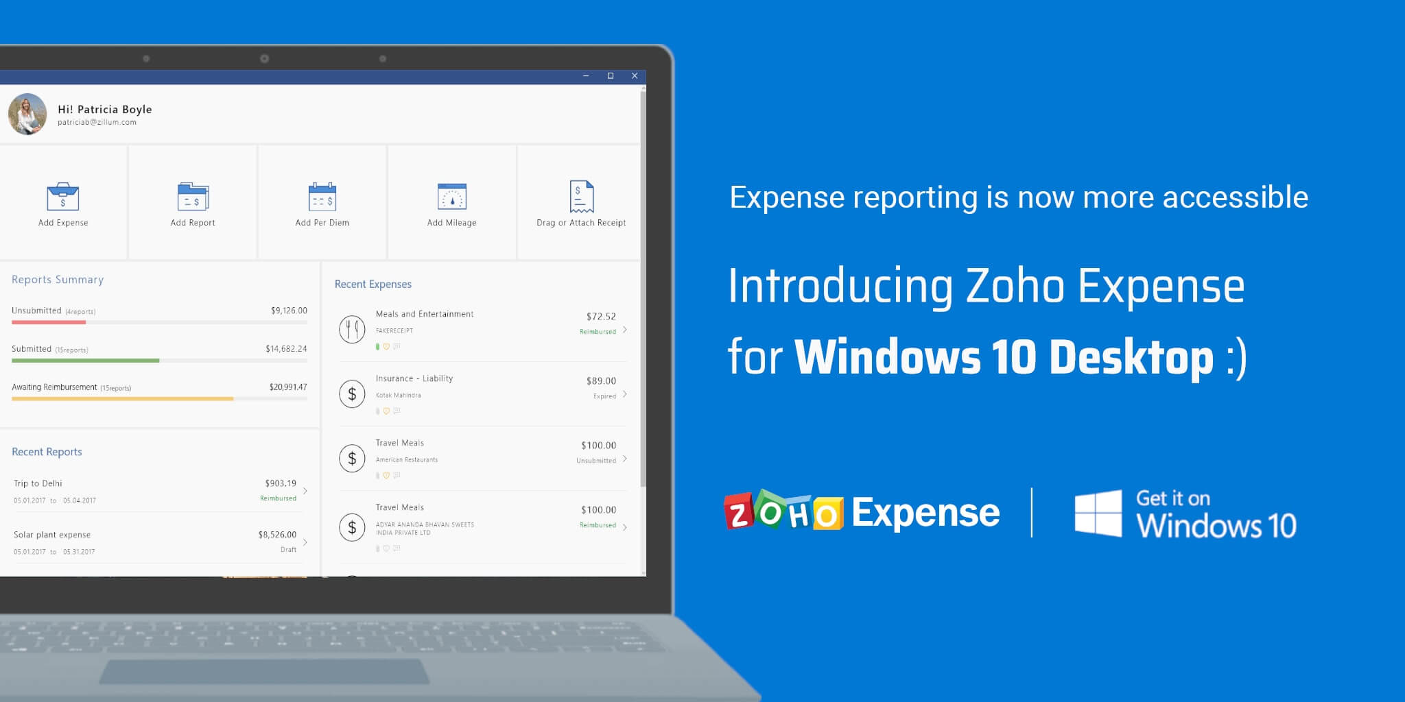 Introducing Zoho Expense for Windows 10 Desktop: Expense reporting is now more accessible