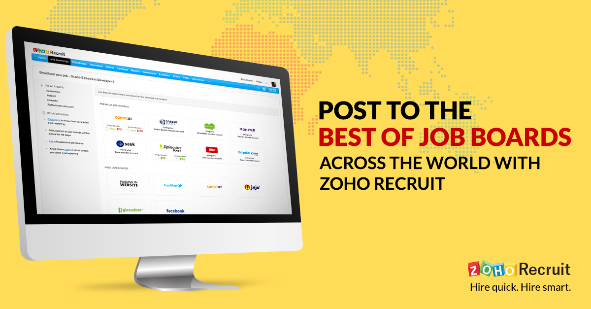 here at zoho recruit we constantly evaluate every job board weve integrated with job boardssome of the most visited sites on the internetnot only help