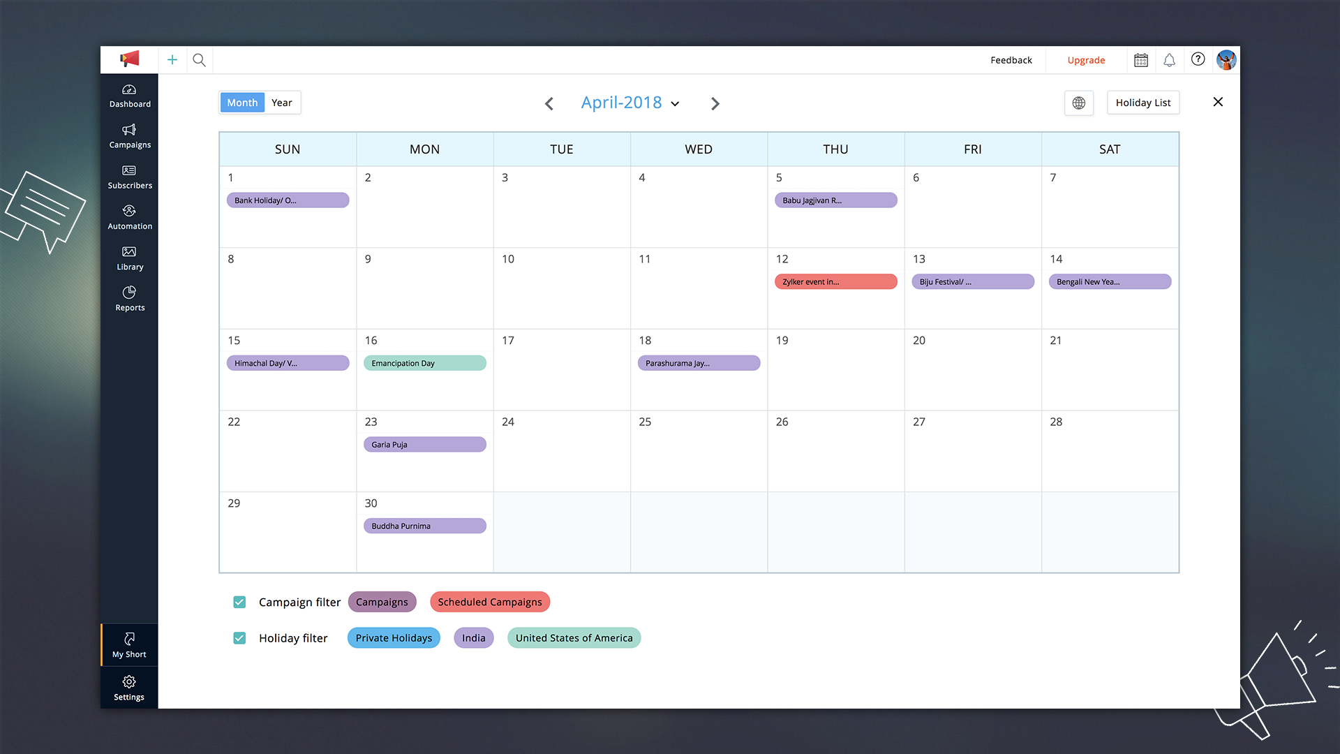 Marketing Calendar - Zoho Campaigns