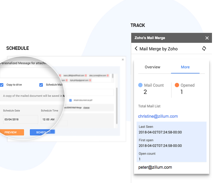 Schedule and track your emails with Mail Merge from Zoho