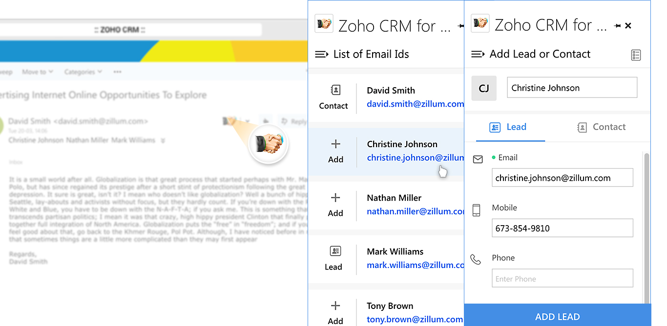Manage leads and contacts in Zoho CRM