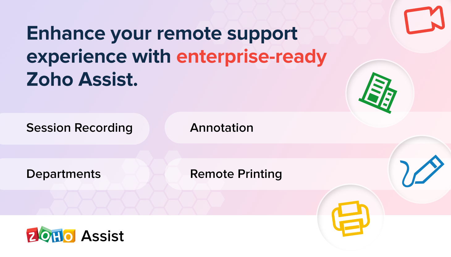 It's here! Rolling out Session Recording, Annotation, Remote Printing, and more in Zoho Assist.
