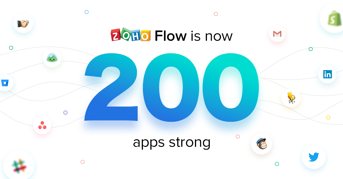 Zoho Flow is now 200 apps strong and the sprint is on
