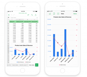 Charts in Zoho Sheet mobile app
