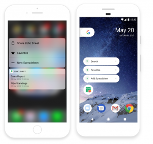 Shortcuts, quick access and 3D touch in Zoho Sheet