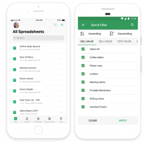 File listing, sort, and filter in Zoho Sheet.