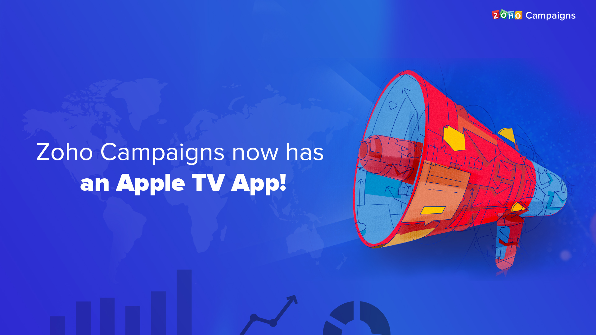 The all-new Zoho Campaigns app for Apple TV—because we believe in teamwork.