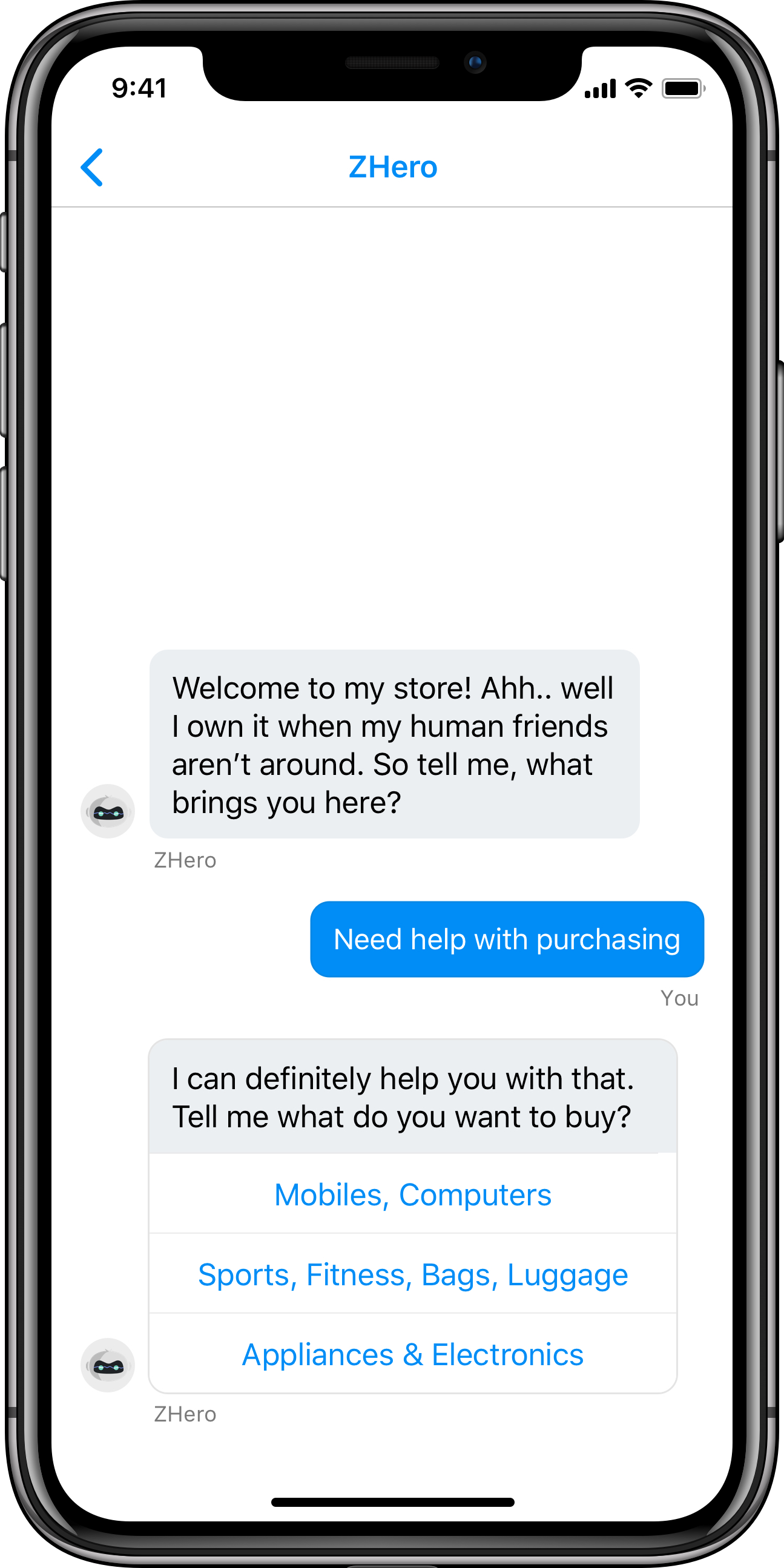 chatbot for mobile business apps iOS