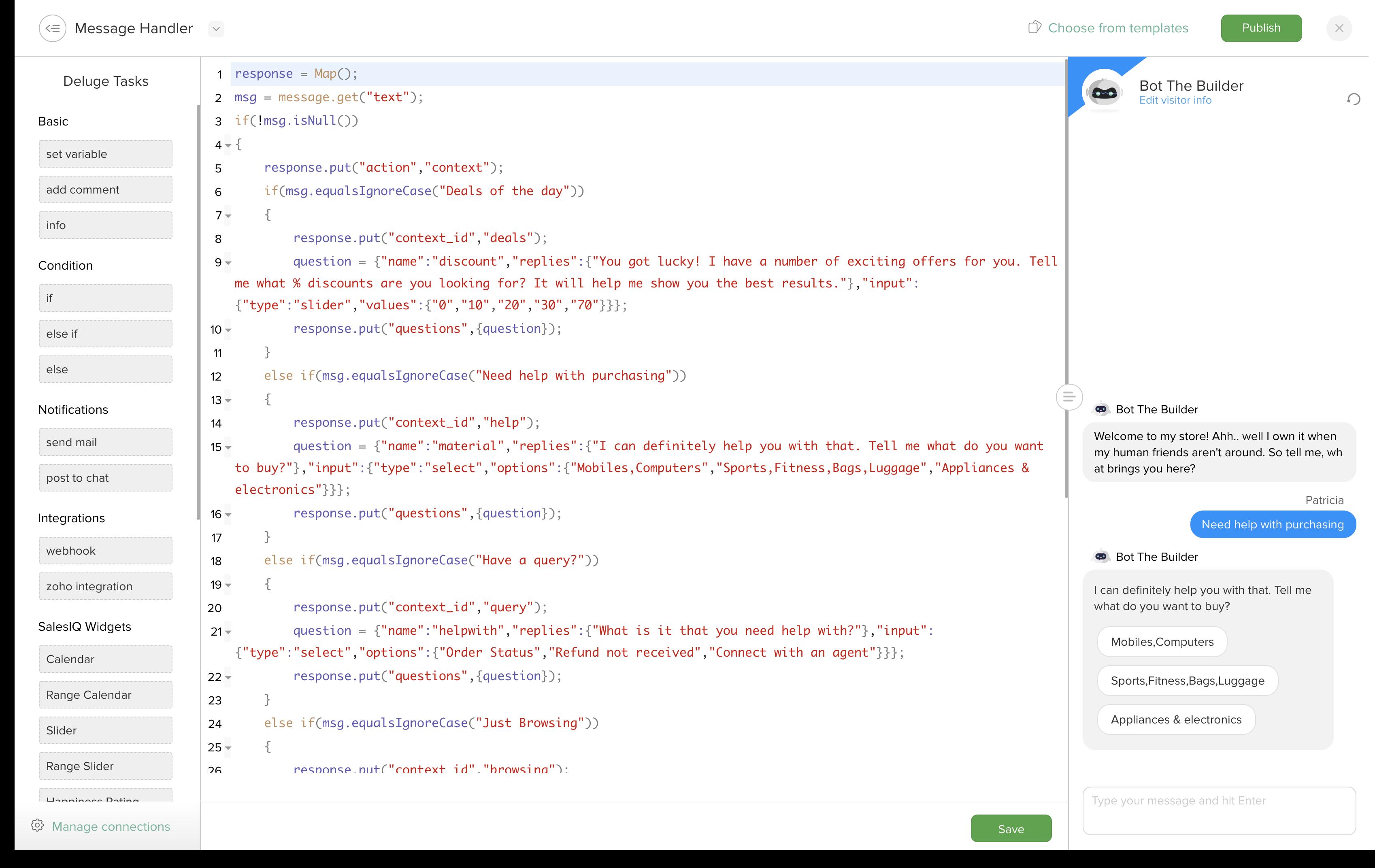 chat bot editor