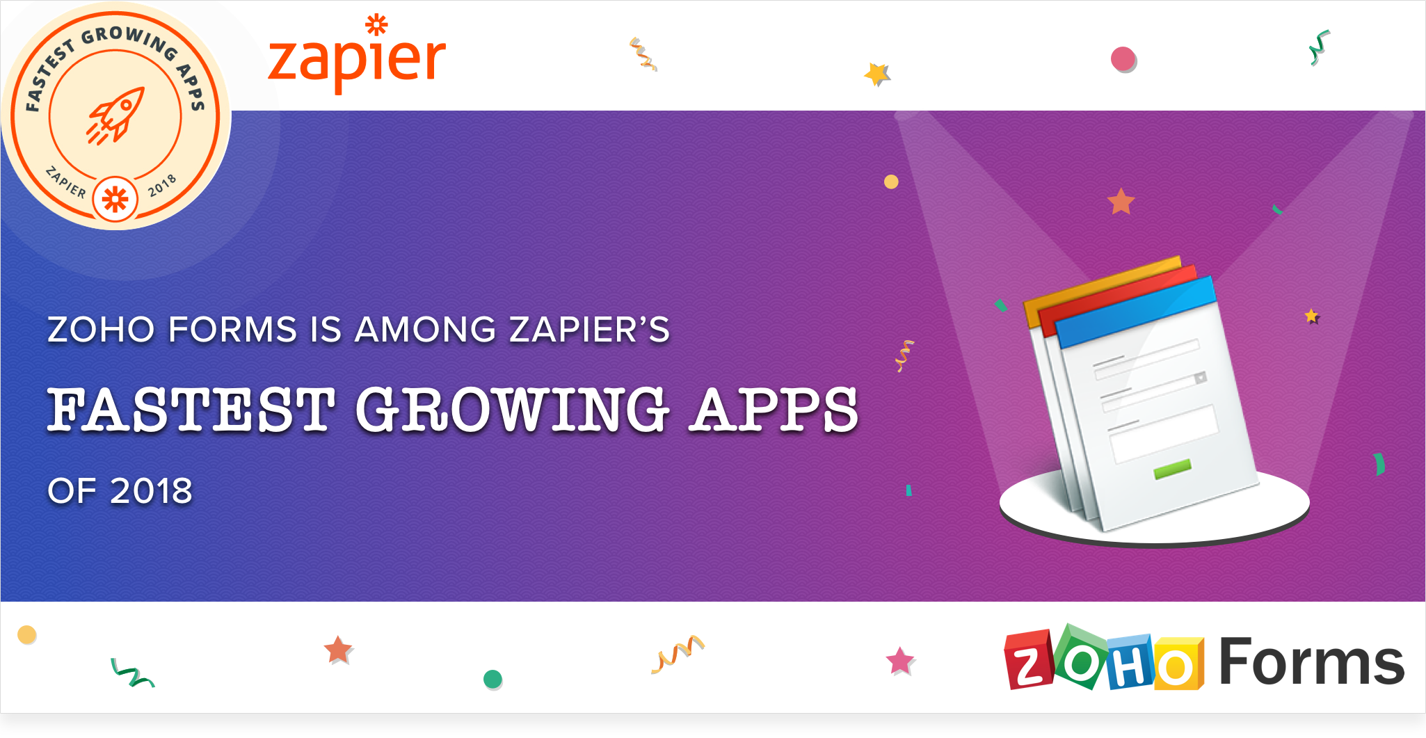 Zoho Forms is among Zapier's fastest growing apps of 2018