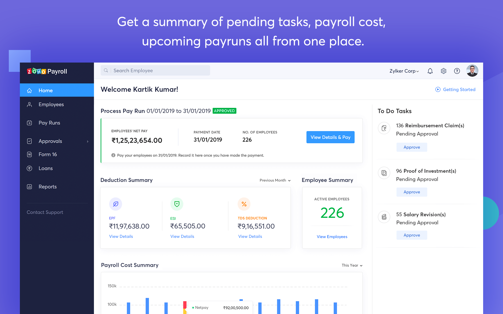 Zoho Payroll Dashboard Summary