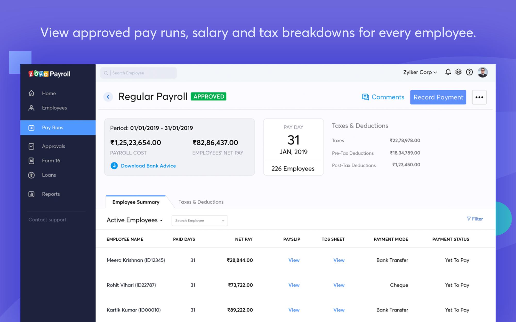 Effortless payroll processing