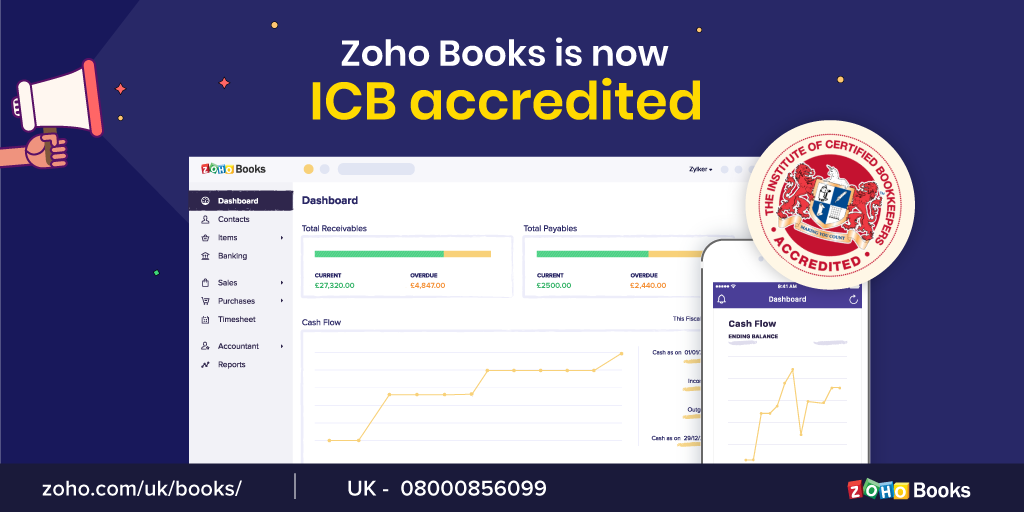 The Institute of Certified Bookkeepers accredits Zoho Books