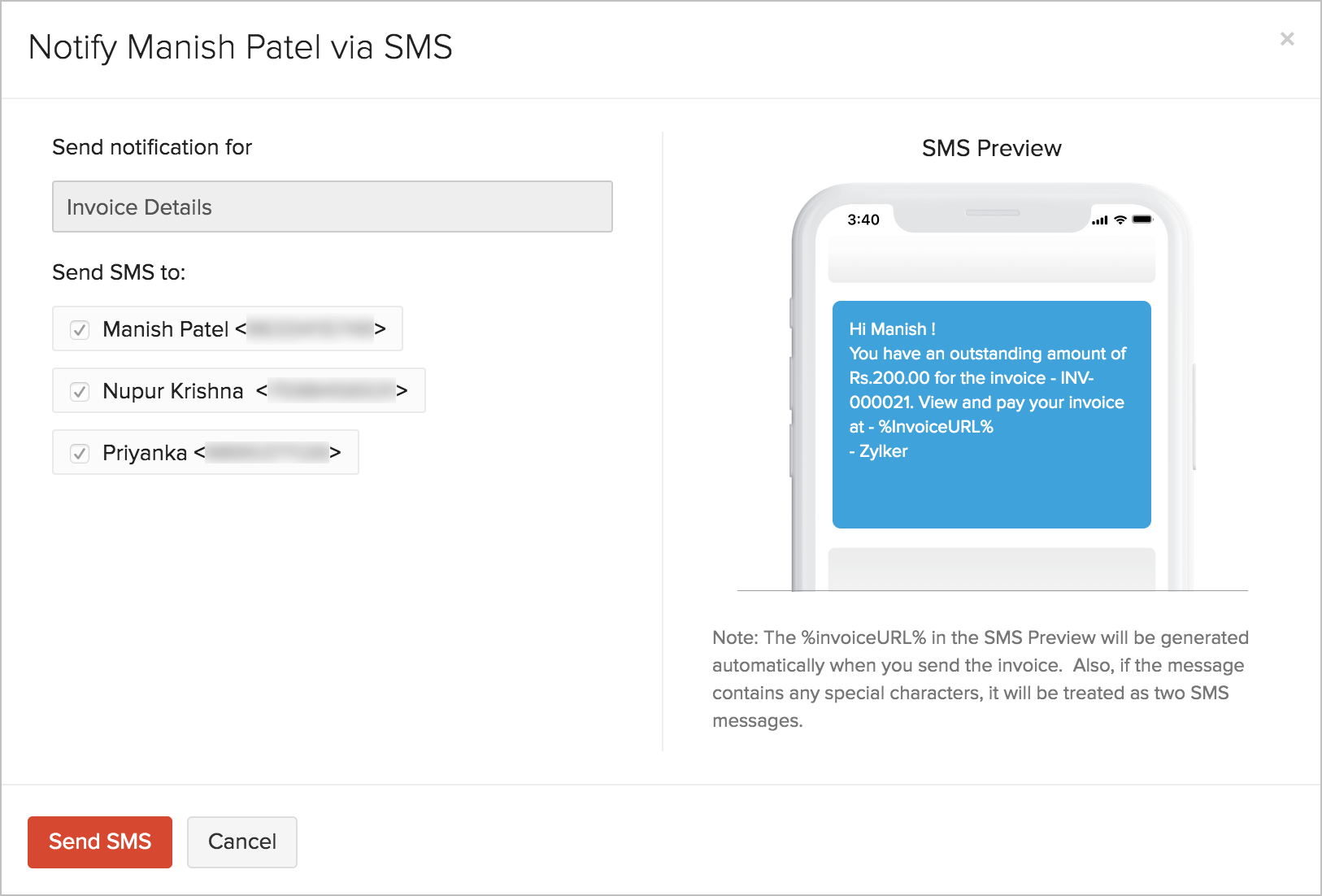 SMS message preview