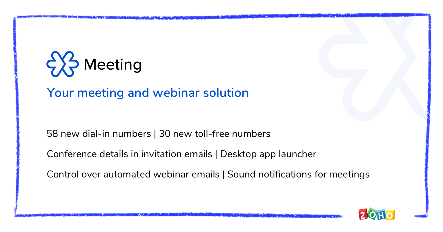 New dial-in and toll-free numbers, Conference details in invitation emails, Control over automated webinar emails, and more from Zoho Meeting.