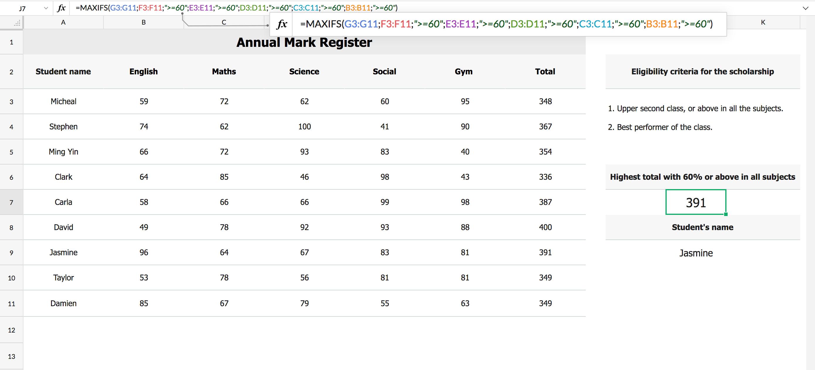 MAXIFS(range, criteria_range, criterion, [criteria_range1], [criterion1], [criteria_range2], [criterion2]...)