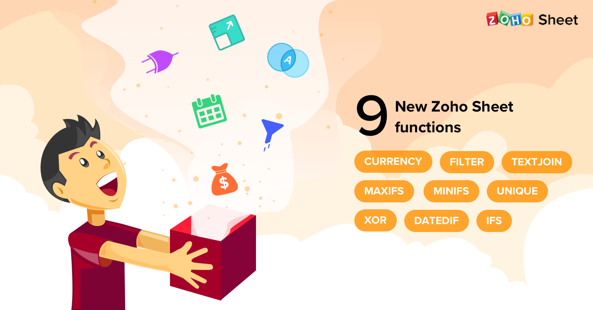 Nine powerful new Zoho Sheet functions, including currency conversion
