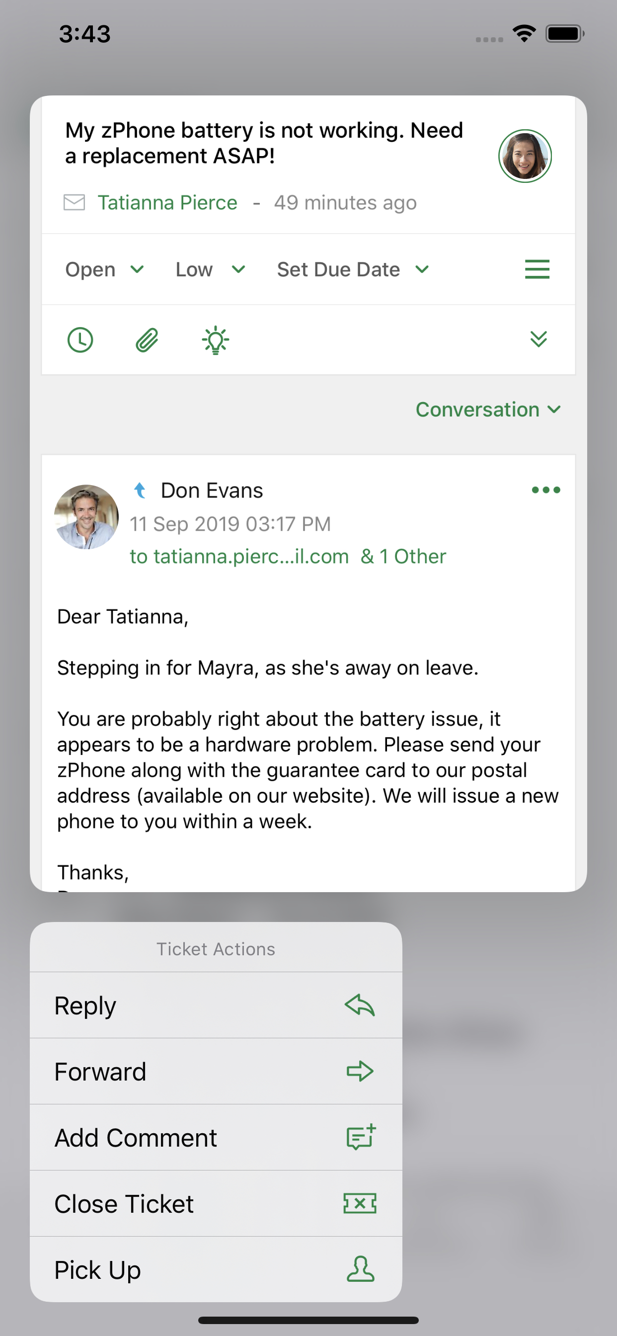 Context Menus in Zoho Desk for iOS 13