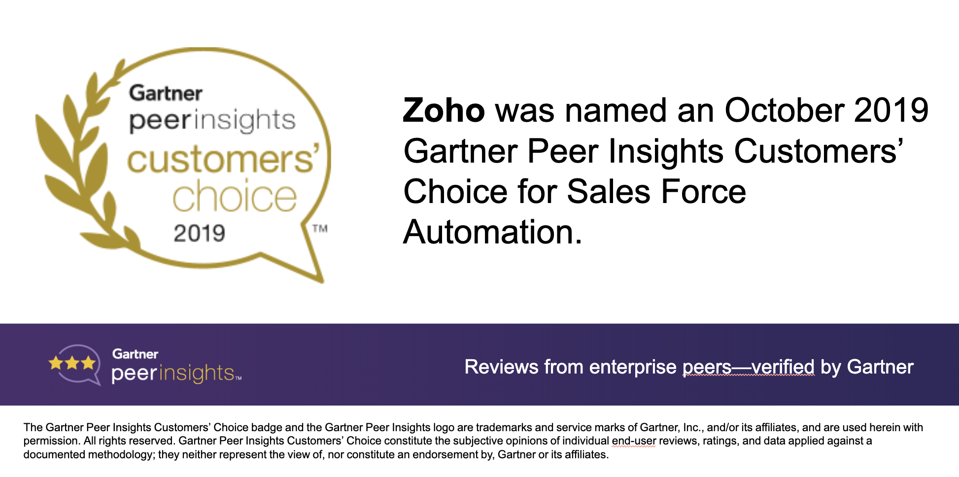 Zoho CRM named an October 2019 Gartner Peer Insights Customers' Choice for Sales Force Automation