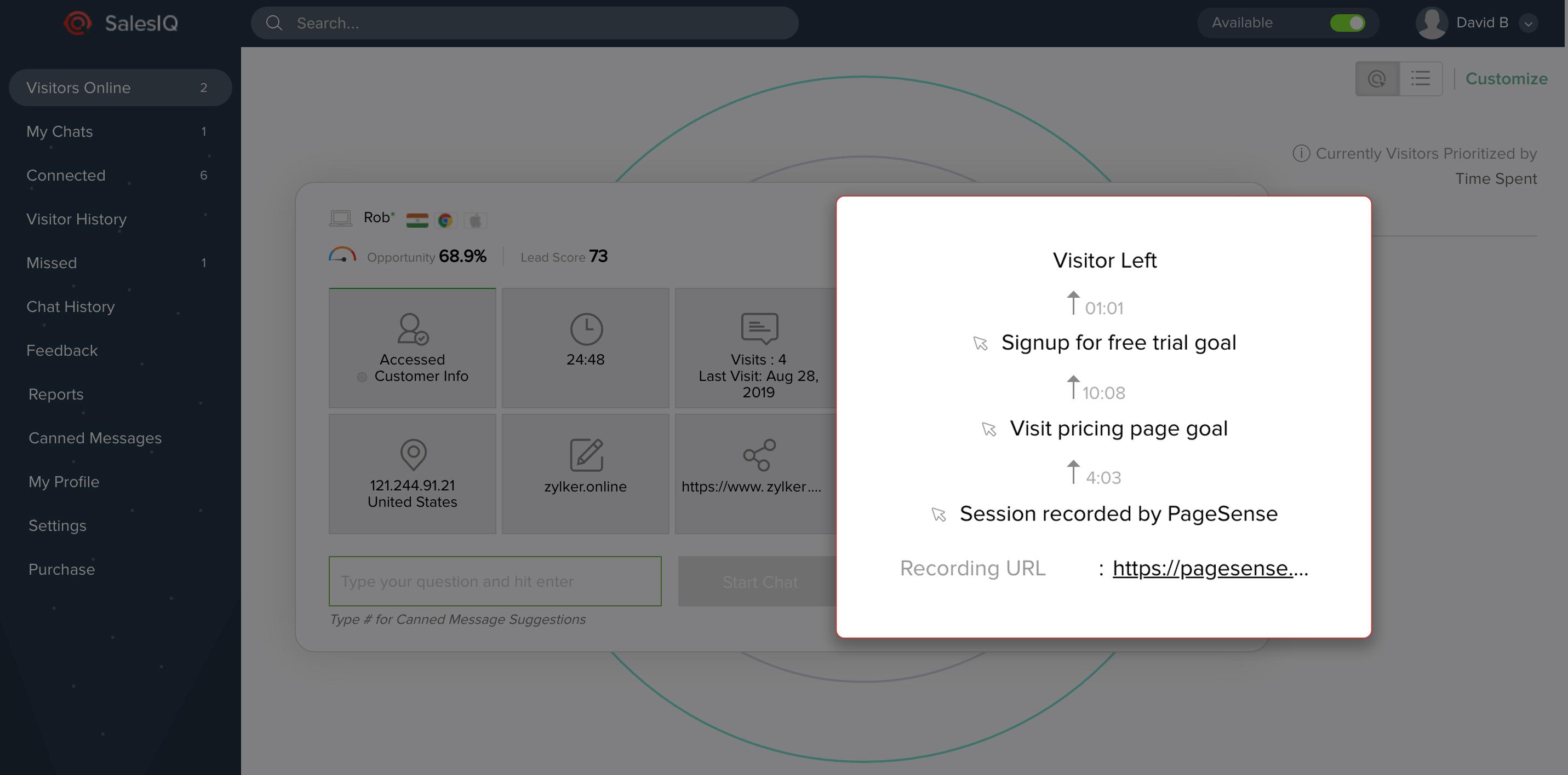 Goals in PageSense SalesIQ integration